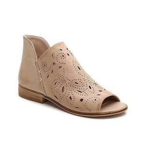 Blush Perforated Slip-On Ankle Booties